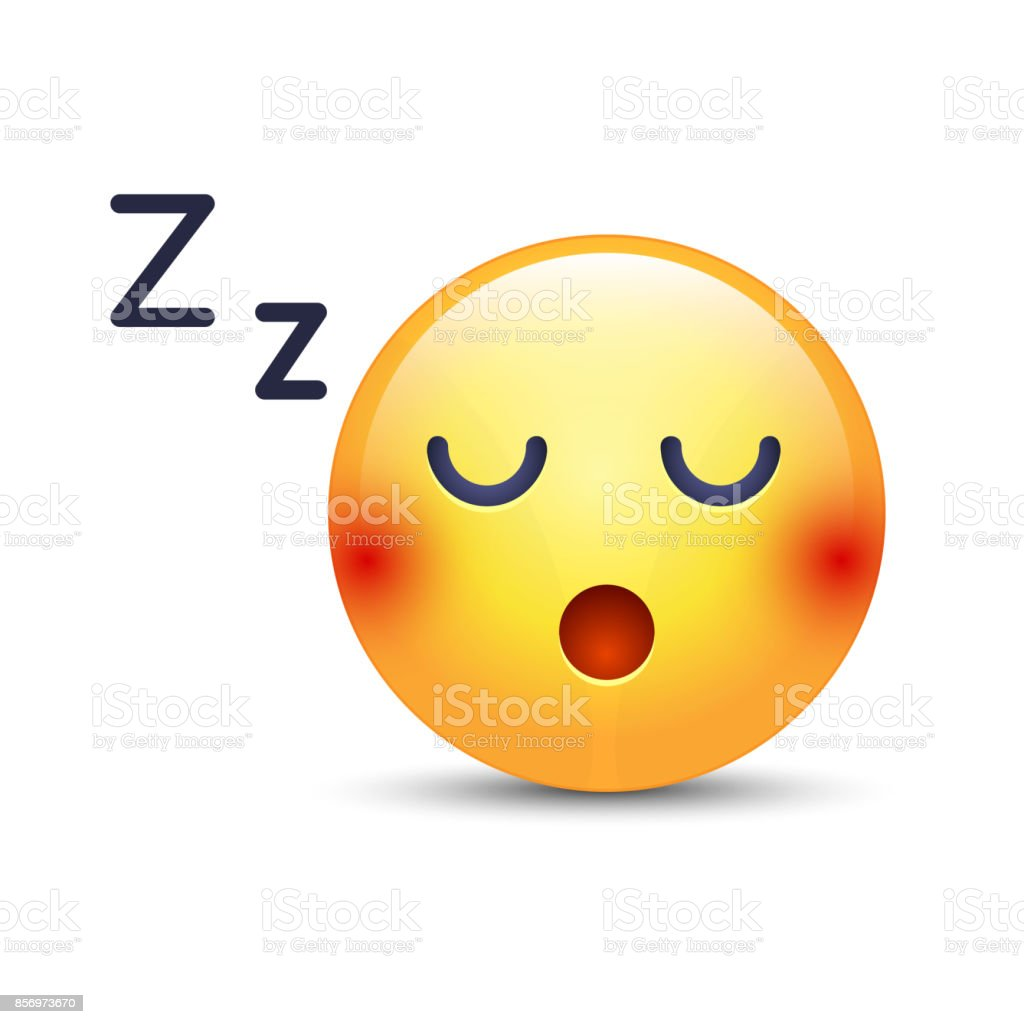 Sleeping vector Face. Sleeping emoticon mood with compressed teeth. Sleepy smile icons for applications and chat vector art illustration