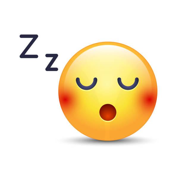 schlafen vektor gesicht. schlafende emoticon-stimmung mit komprimierten zähne. verschlafenes lächeln icons für anwendungen und chat - faules emoji stock-grafiken, -clipart, -cartoons und -symbole
