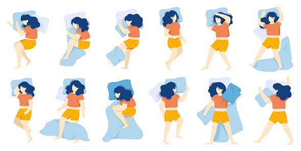 Sleeping woman. Girl sleep position, female character healthy night sleep, woman sleeping in bed alone. Night dream position vector illustration set