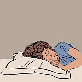 Vector illustration sketch of a Sleeping Young Boy