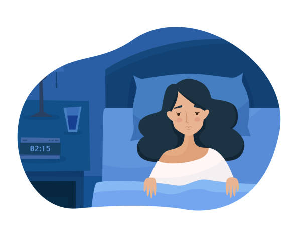 Sleepless girl suffers from insomnia. Sleepless girl suffers from insomnia. Woman in bed with open eyes in darkness night room. Flat cartoon style vector illustration. tired woman stock illustrations