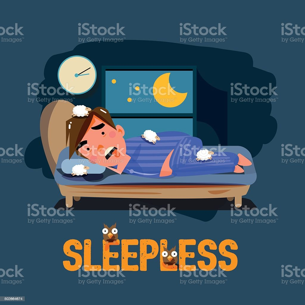 sleepless man character on the bed with bad emotional feeling. vector art illustration