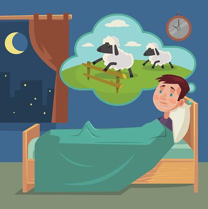 Sleepless man counting sheep