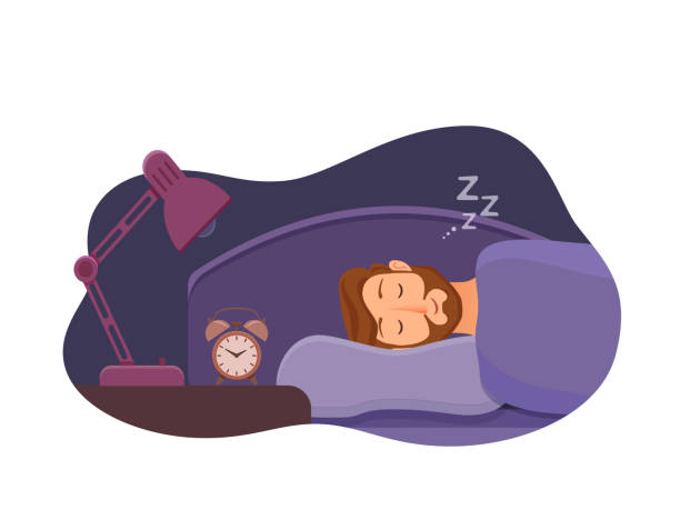 Sleepless man face cartoon character suffers from insomnia. Sleeping man face cartoon character happy guy have a sweet dream. Person with closed eyes in darkness night lying on bed, pillow, blanket. Resting male napping, tired, sound zzz vector illustration man sleeping stock illustrations