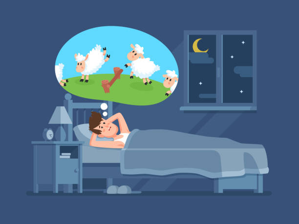 Sleepless man in bed trying to fall asleep counting sheeps. Count sheep for insomnia cartoon vector concept Sleepless man in bed trying to fall asleep counting jumping sheeps. Count sheep for insomnia cartoon vector concept bedroom backgrounds stock illustrations