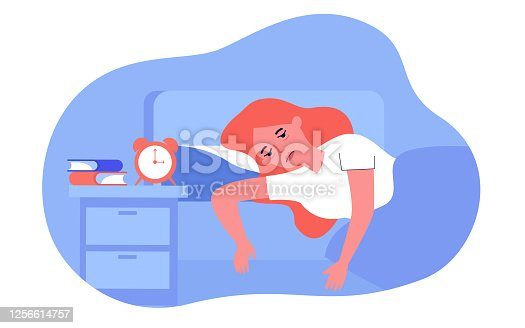 istock Sleepless woman lying in bed with fatigue 1256614757