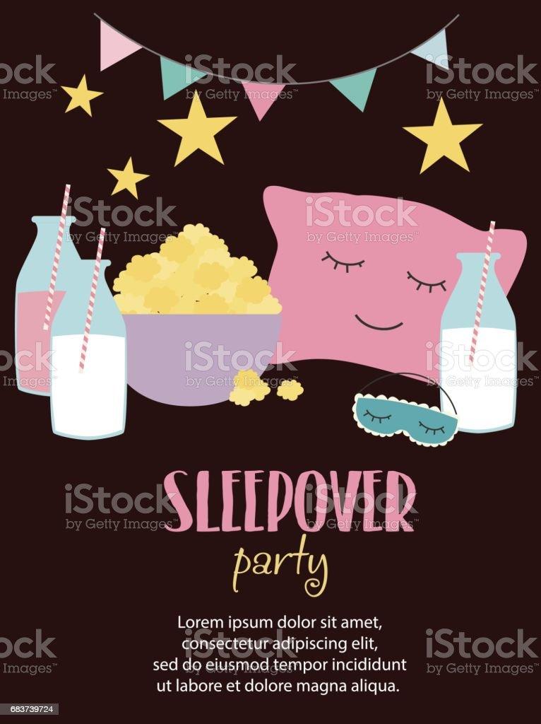 Sleepover invitation card with cute elements vector art illustration