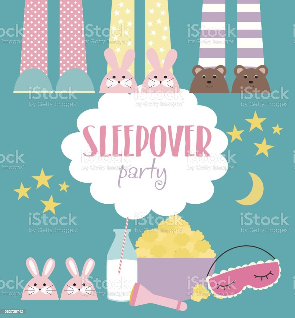 sleepover invitation card with cute elements stock illustration - download image now
