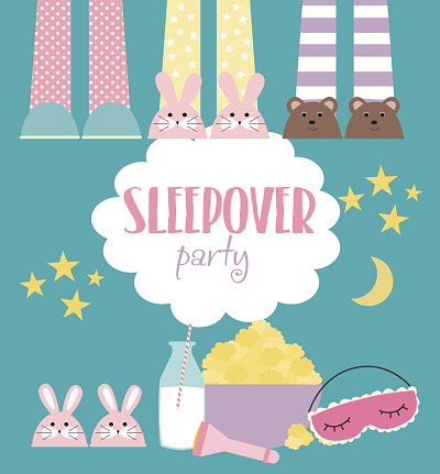 Sleepover invitation card with cute elements