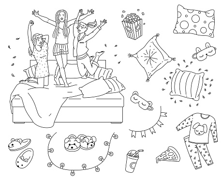 Sleepover slumber party element set in coloring book line art style