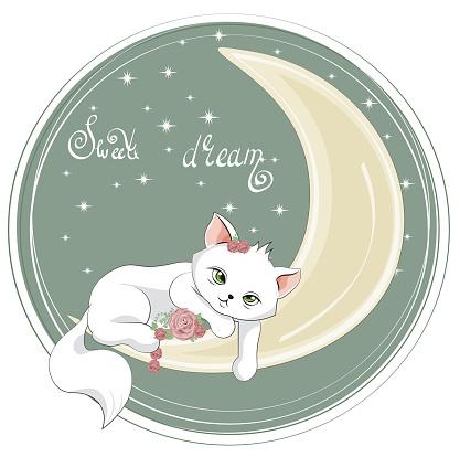 sleepping cat on moon in flower