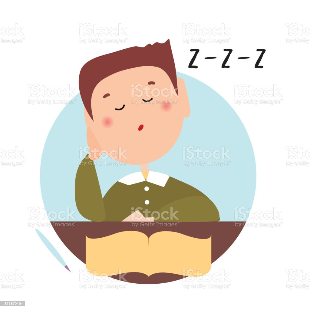 Sleepy boy with closed eyes in front of an open book. Isolated flat illustration on a white backgroud. Cartoon vector image. vector art illustration