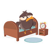 sleepy cartoon bird is getting out of bed