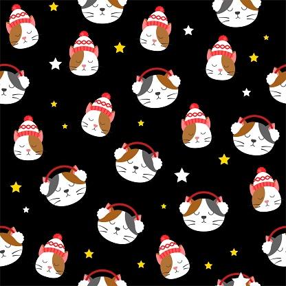 sleepy cat Christmas  seamless pattern in flat design.