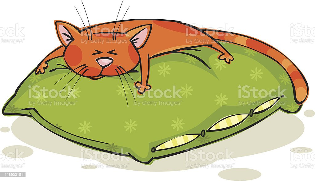 Sleepy cat royalty-free stock vector art