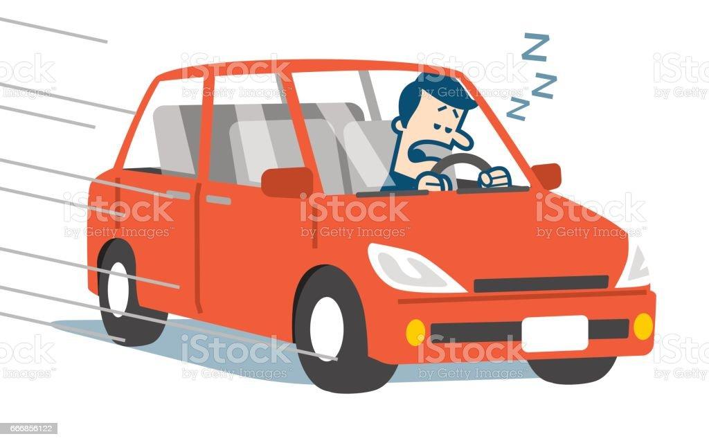 Sleepy driver vector art illustration