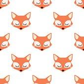 Sleepy fox. Seamless vector pattern