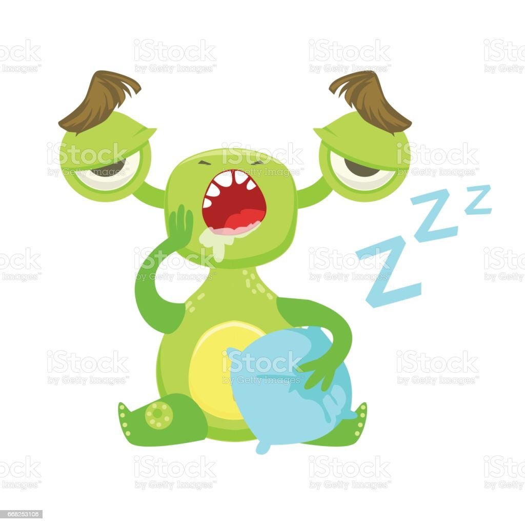 Sleepy Funny Monster Yawning WIth Pillow, Green Alien Emoji Cartoon Character Sticker sleepy funny monster yawning with pillow green alien emoji cartoon character sticker - immagini vettoriali stock e altre immagini di animale royalty-free