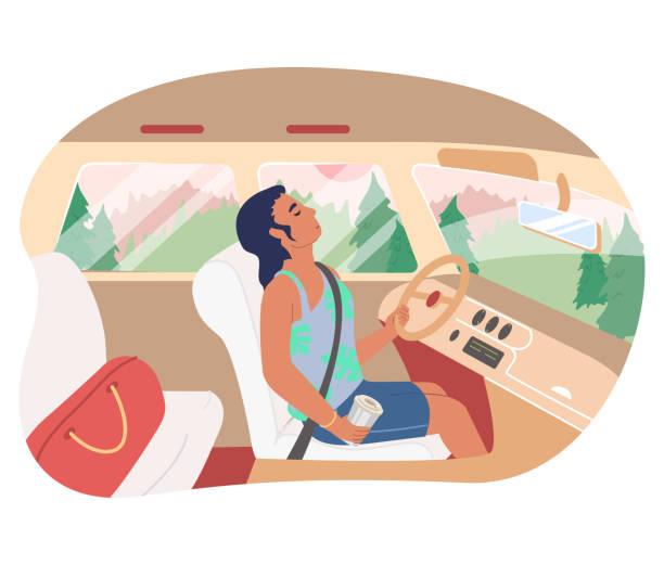 illustrations, cliparts, dessins animés et icônes de voiture de conduite somnolent de fille, illustration plate de vecteur. conducteur féminin fatigué avec la cette de café au volant. - child car sleep