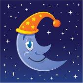 Vector illustration of a sleepy moon