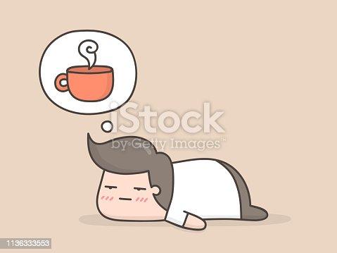 Sleepy. Cute cartoon doodle illustration.