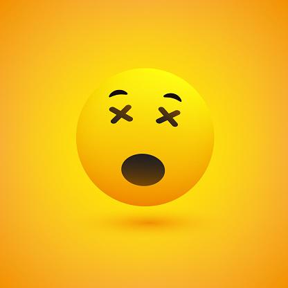 Sleepy Yawning Face Emoji With Mouth Open Stock Illustration