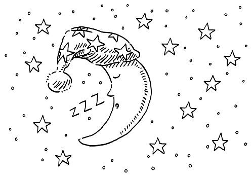 Sleepyhead Moon Night Sky Drawing