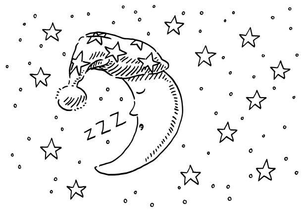 illustrations, cliparts, dessins animés et icônes de sleepyhead moon night sky dessin - sky