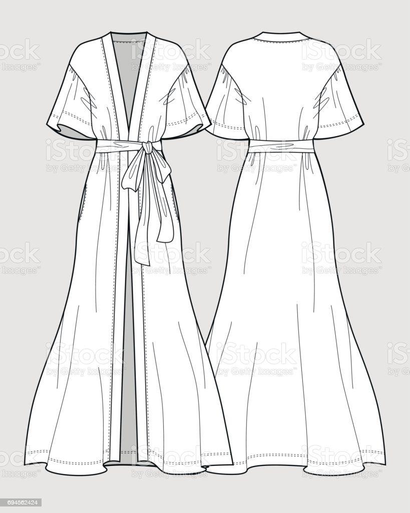 ee4aa45066 Sleeve satin kimono robe. Silk bathrobe for women. Isolated vector. Front  and back views. - Illustration .