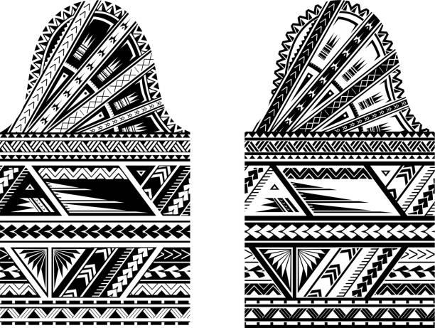 hülse größe maori stil tattoo - maori tattoos stock-grafiken, -clipart, -cartoons und -symbole