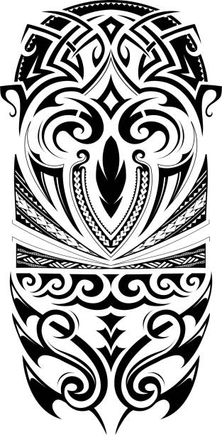 sleeve size tattoo ornament - tribal tattoos stock illustrations, clip art, cartoons, & icons