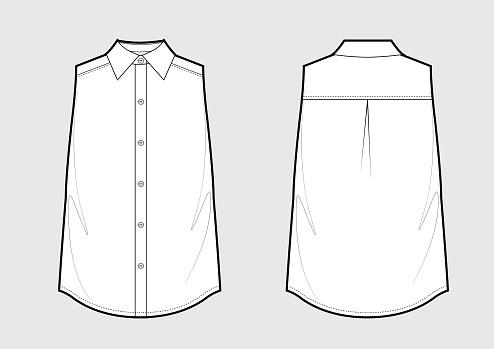 Sleeveless classic shirt fashion technical sketch. Vector illustration