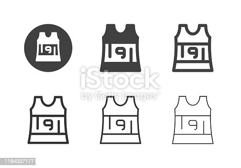 Sleeveless Running Shirt Icons Multi Series Vector EPS File.