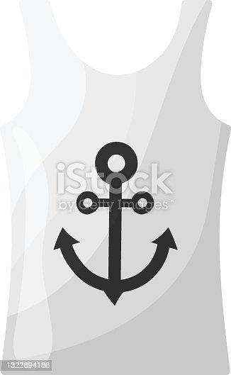 Sleeveless Sailor T shirt Concept, Anchor Nautical Sea Beach Mens Wear Top Vector Icon Design, Summer Spring activities Symbol, Hot Weather Sign, Warmest Season Elements Stock illustration