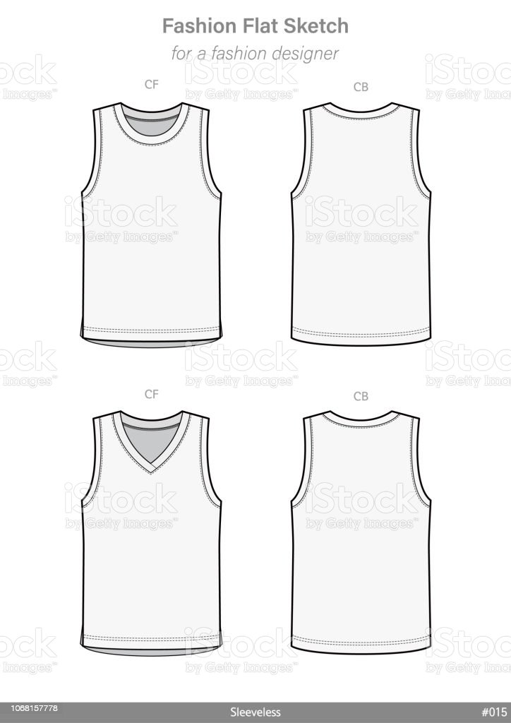 Sleeveless Tank Top Fashion Flat Technical Drawing Vector Template