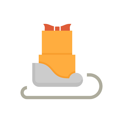 Sleigh and gift vector icon for children on Christmas Eve.