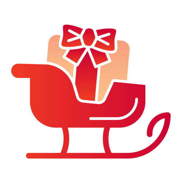 Sleigh flat icon. Sledge with bag of gifts and presents symbol, gradient style pictogram on white background. Christmas holiday item sign for mobile concept and web design. Vector graphics. Sleigh flat icon. Sledge with bag of gifts and presents symbol, gradient style pictogram on white background. Christmas holiday item sign for mobile concept and web design. Vector graphics winter weather clip art stock illustrations