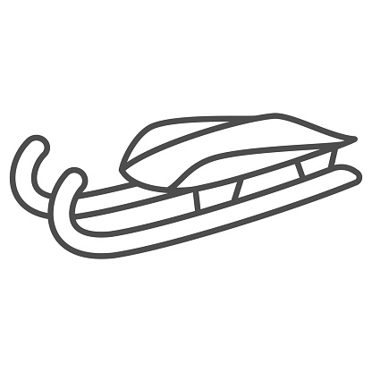 Sleigh for luge thin line icon, Winter sport concept, Snow sleigh sign on white background, Sled icon in outline style for mobile concept and web design. Vector graphics.