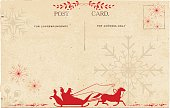 Vintage postcard with an old fashioned parchment with people in red sleigh and horse silhouette. The postcard, lettering & elements are on their layers for easier editing. Red sleigh, horse and snowflakes of various sizes on parchment colored background.
