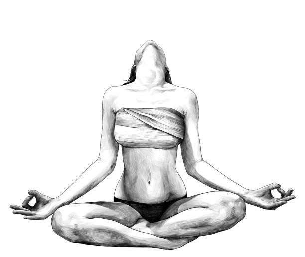 slender girl sitting in Lotus position with her head thrown back so you can not see her face in panties and chest wrapped with cloth – artystyczna grafika wektorowa