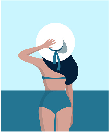 Slender woman dressed in swimsuit with big hat at her head is standing on the beach. Summer vacations. Beautiful sexy girl in bikini and hat. Partition of facet. Back view. flat Vector illustration.