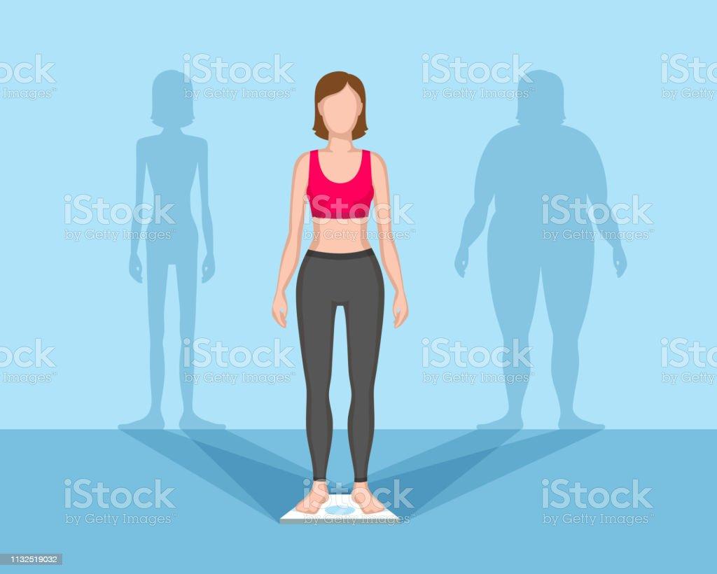 Slender woman, fat and thin shadows behind vector art illustration