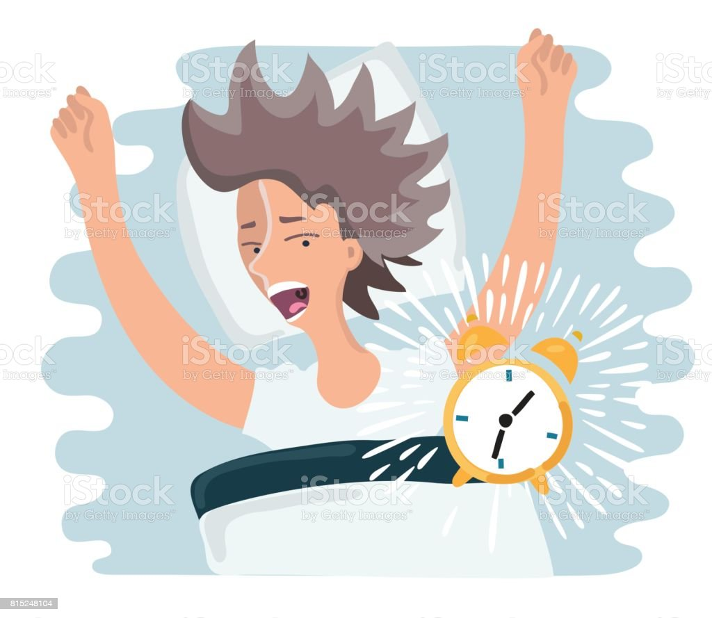 slept through woman woke up, the alarm clock is ringing, woman screaming vector art illustration
