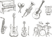 Drum set and piano, saxophone, acoustic and electric guitars, violin and trumpet, ancient greek lyre and wooden maracas engraving sketches