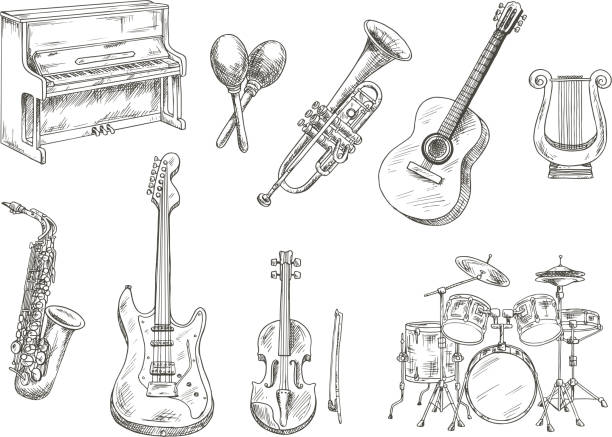 stockillustraties, clipart, cartoons en iconen met sletched classic musical instruments set - trompet