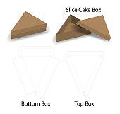 slice cake or sandwich box  mockup with dieline