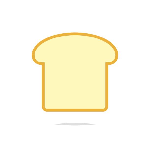 Slice of bread icon vector Vector element bread clipart stock illustrations