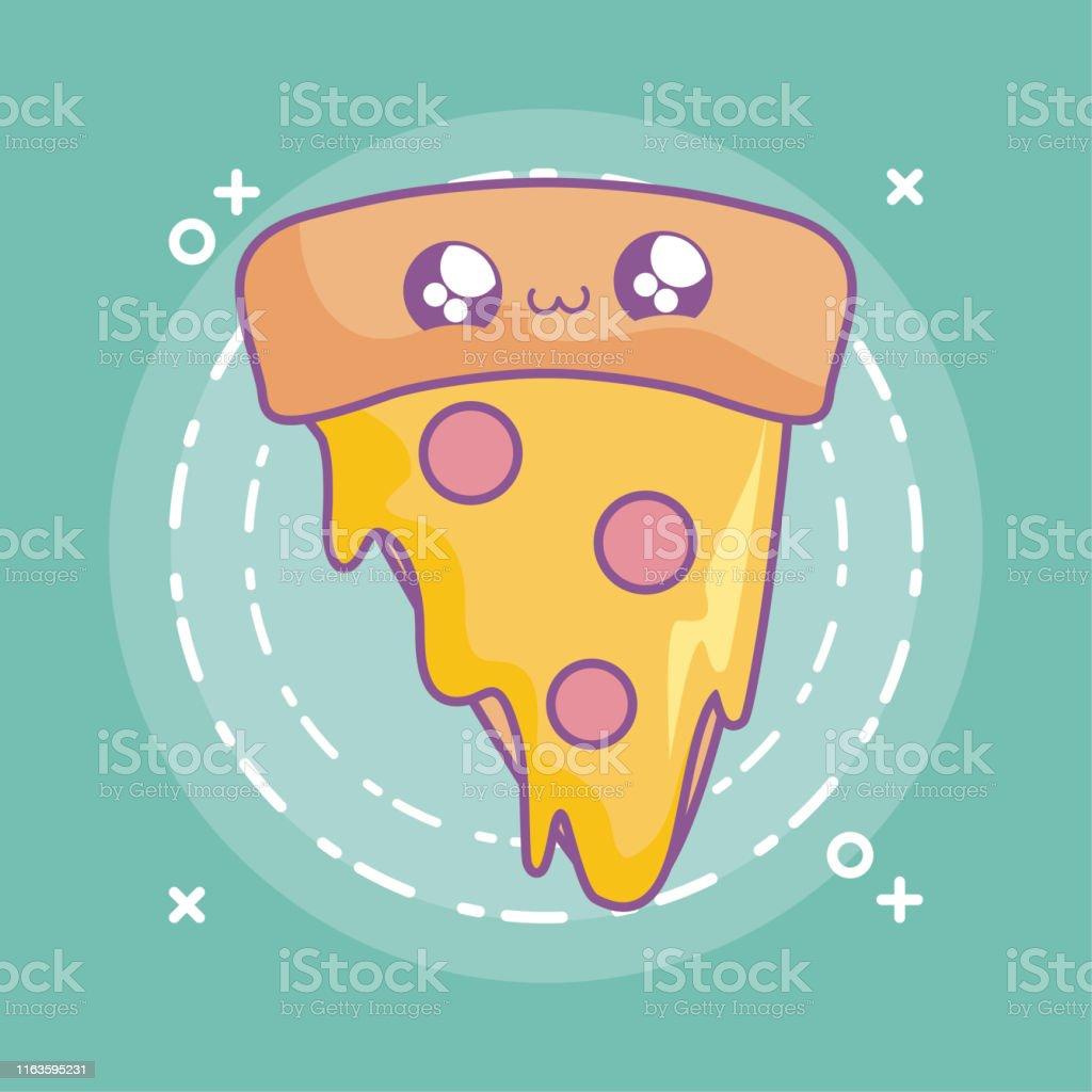 Scheibe Von Köstlichen Pizza Kawaii Stil Stock Vektor Art