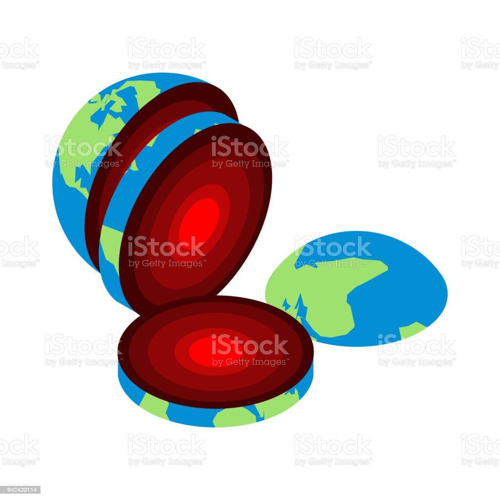 Ilustración De Trozo De Tierra Núcleo Centro Del Planeta