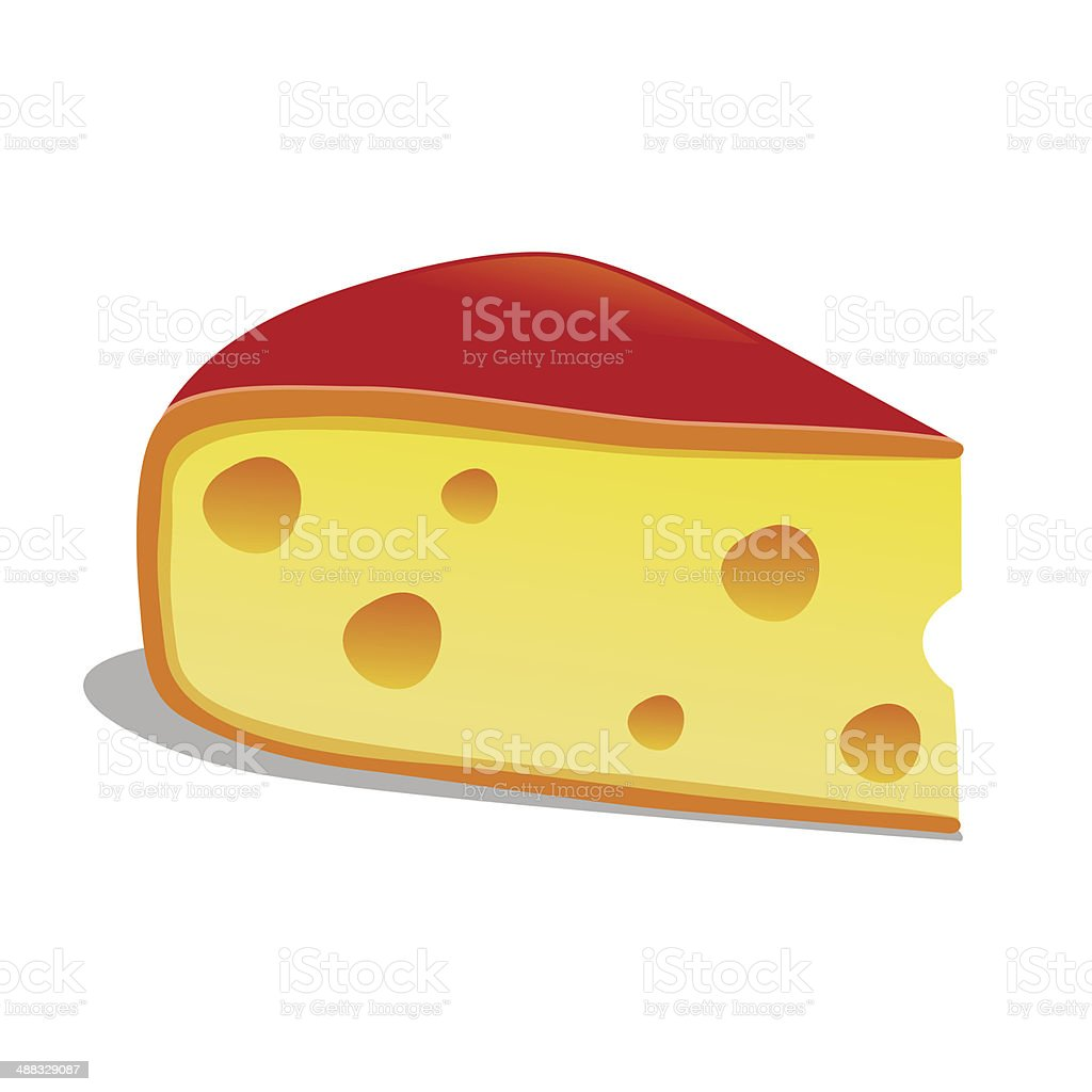 Slice of Edam Cheese vector art illustration